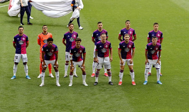 REAL VALLADOLID C. F. Temporada 2020-21. Óscar Plano, Masip, Michel, Javi Sánchez, El Yamiq, Rubén Alcaraz. Janko, Jota, Roque Mesa, Weissman, Lucas Olaza. VALENCIA C. F. 3 REAL VALLADOLID 0. 09/05/2021. Campeonato de Liga de 1ª División, jornada 35. Valencia, estadio de Mestalla. GOLES: 1-0: 45', Maxi Gómez. 2-0: 48', Maxi Gómez. 3-0: 90+3', Thierry Correia.