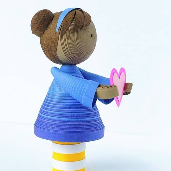 quilled 3D tiny girl figurine