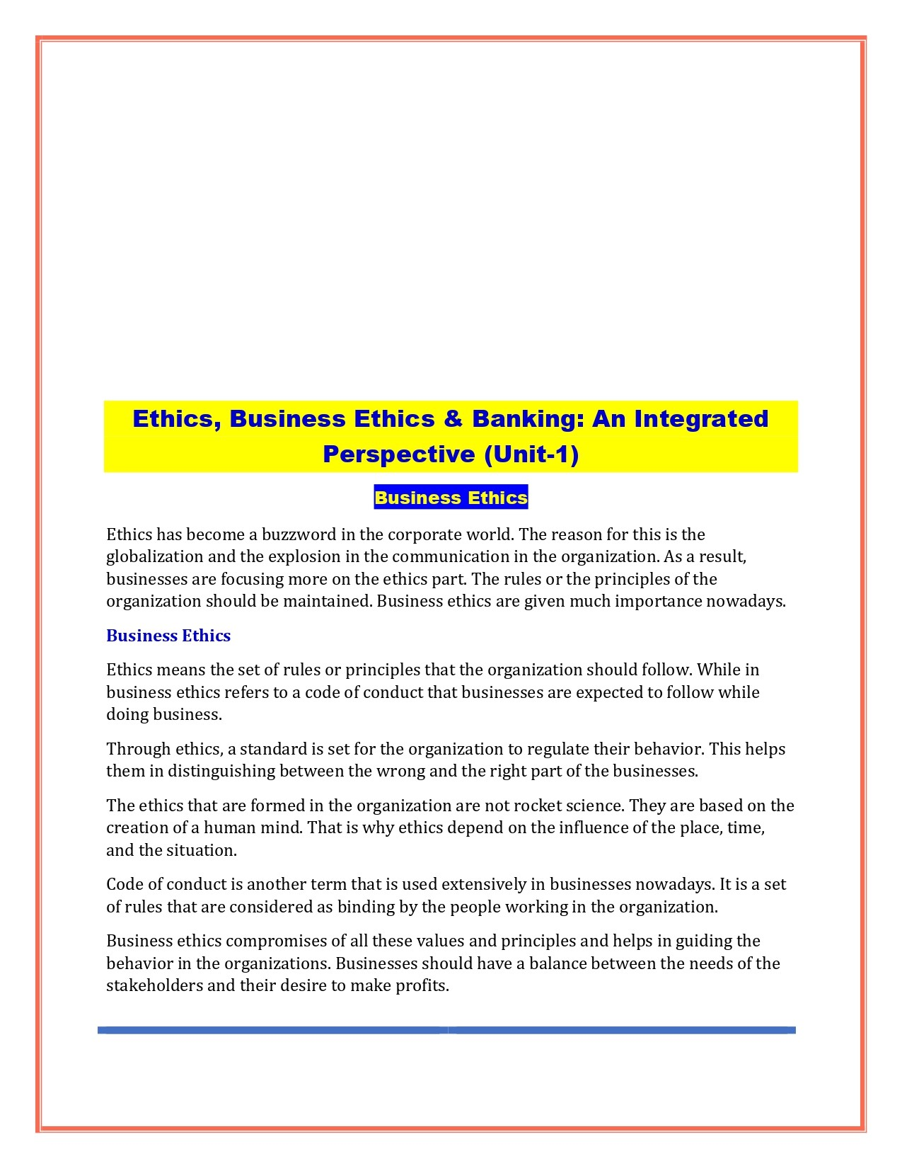 JAIIB PRINCIPLES & PRACTICES OF BANKING MODULE E (ETHICS)