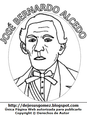 José Bernardo Alcedo para colorear pintar. Dibujo de José Bernardo Alcedo para niños. Dibujo de José Bernardo Alacedo hecho por Jesus Gómez