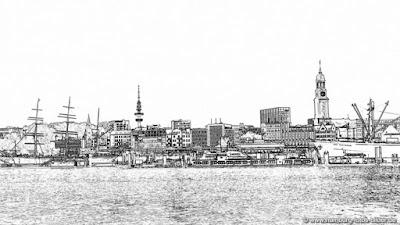 Hamburg Skyline Silhouette, schwarz weiss
