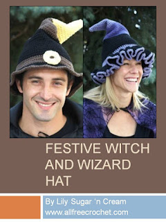 http://www.allfreecrochet.com/Halloween-Crochet/Festive-Witch-and-Wizard-Hat-Lily-Sugar-N-Cream
