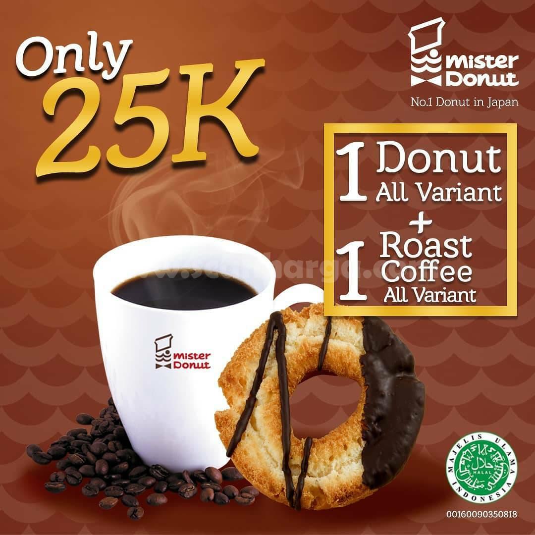 Promo Mister Donut Paket Mini Croissant + Minuman hanya 25K