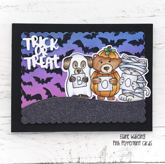 Trick or Treat Card by Elaine | Halloween Trio Stamp Set and Flying Bats Stencil by Newton's Nook Designs #newtonsnook #handmade