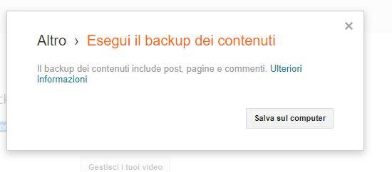 finestra del backup dei contenuti su blogger