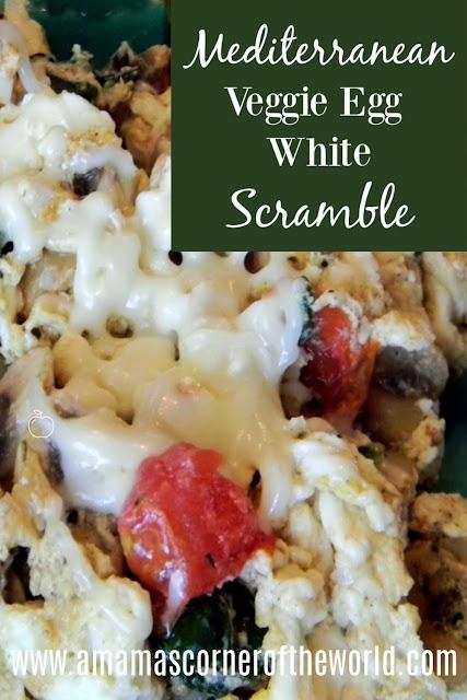 Pinnable Image for an easy, healthy Mediterranean Veggie Egg White Scramble
