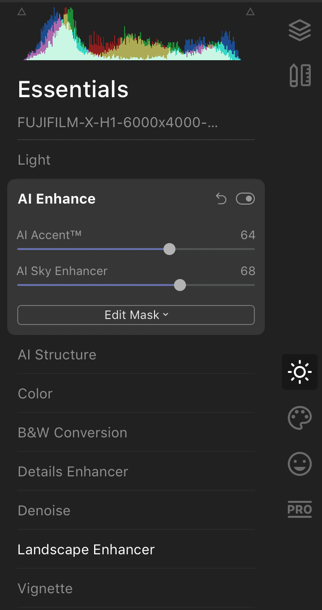 AI Enhance settings in Luminar 4