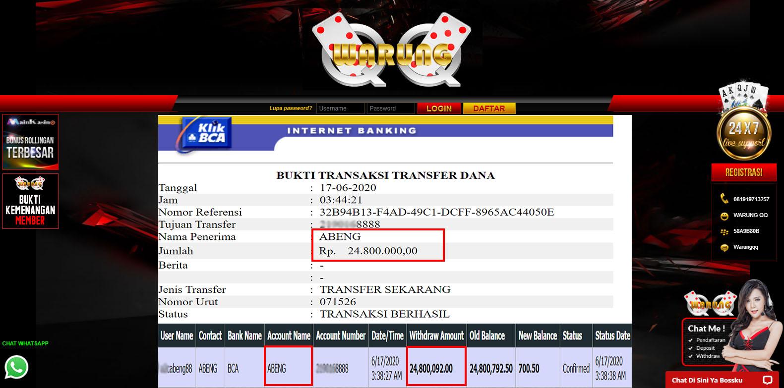 Selamat Kepada Member Setia WARUNGQQ Withdraw RP 24.800.000