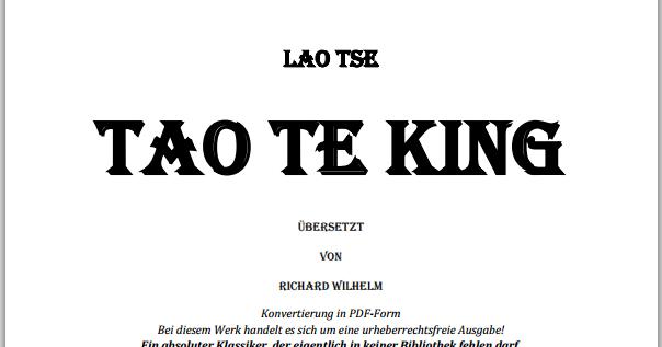 Eggetsberger Info Blogger Blog Lao Tses Tao Te King Zum Freien