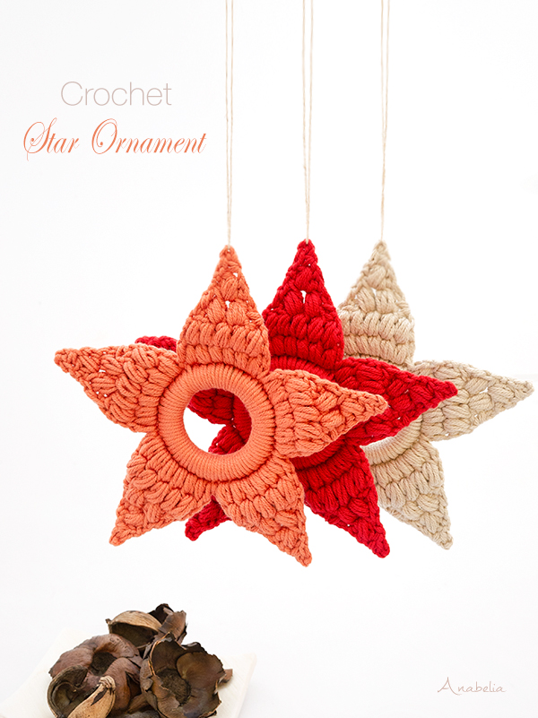 Crochet Star Ornament for Christmas by Anabelia Craft Design