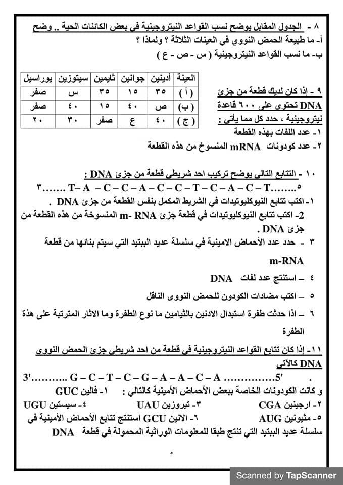 قوانين حل مسائل البيولوجيا الجزيئية احياء للصف الثالث الثانوي أ/ أمل منير 5