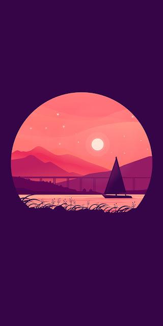 Free boat wallpaper under the Moon Minimal