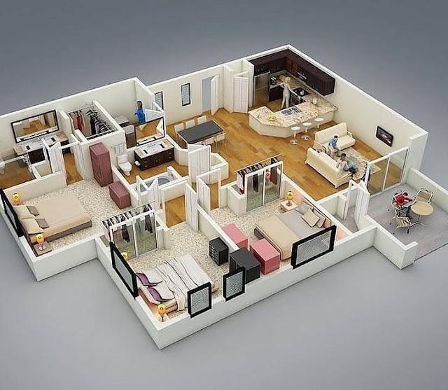 Denah Rumah Minimalis Type 45 dengan 3 Kamar Tidur Terbaru