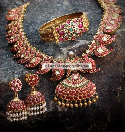 Indian Traditional Gold Bridal Jewellery Set Ruby Mango Mala With Jumkas And Antique Kada