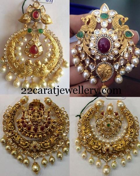 Peacock And Laxmi Antique Pendants Jewellery Designs