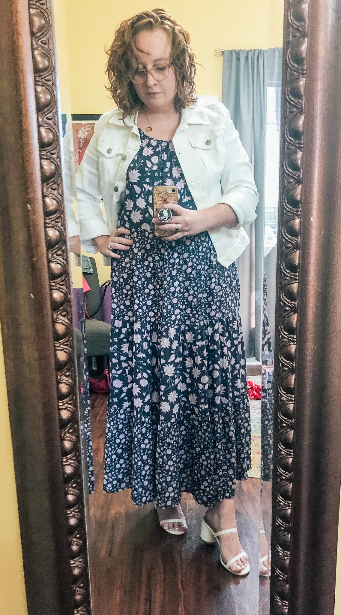 purple-floral-tiered-maxi-dress-white-denim-jacket