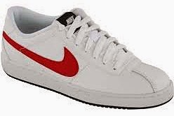 Nike white trainers with red logo