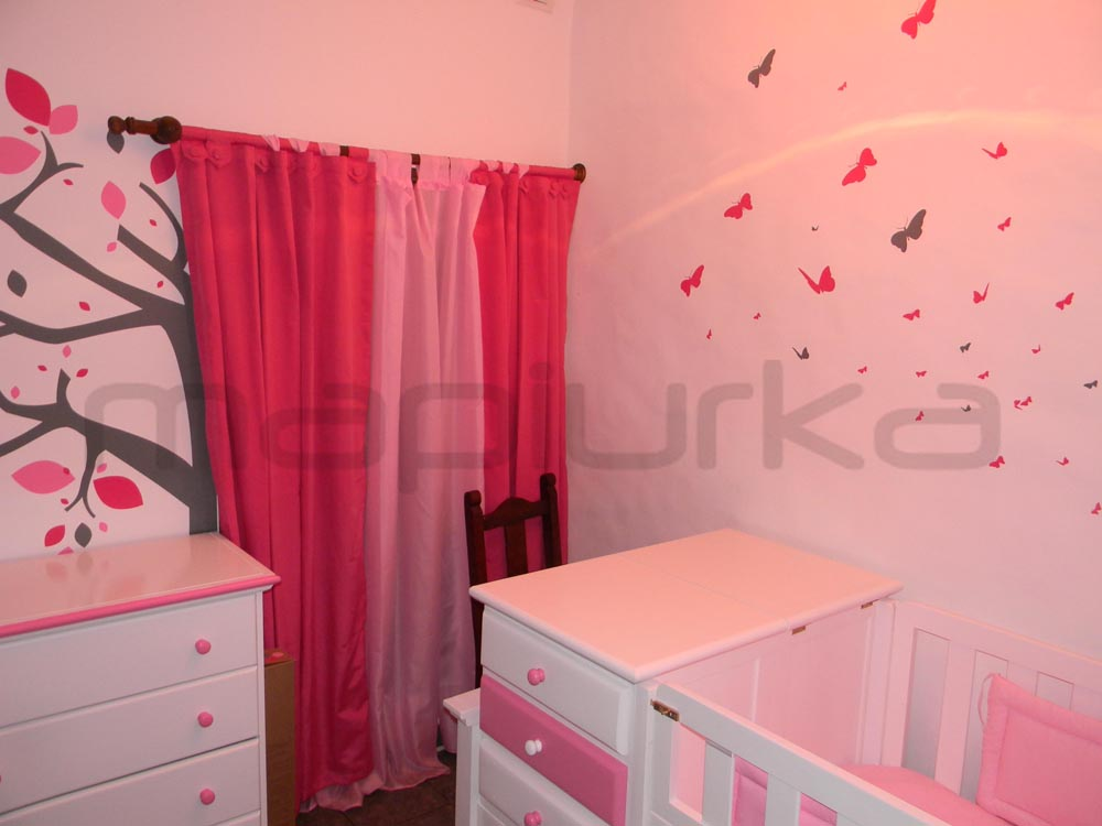 Mapiurka adhesivos decorativos ba dormitorio fucsia y rosa for Adhesivos decorativos para dormitorios