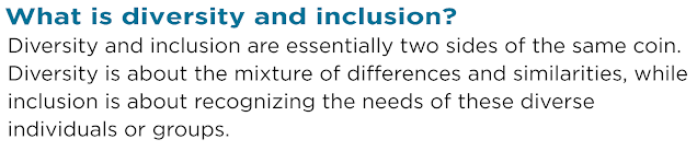 """Diversity and Inclusion quote from CPA Alberta article. """" What is diversity and inclusion? Diversity and inclusion are essentially two sides of the same coin. Diversity is about the mixture of differences and similarities, while inclusion is about recognizing the needs of these diverse individuals or groups."""""""
