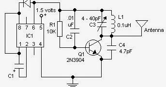 1.5 Volt FM Tracker Transmitter Circuit Schematic