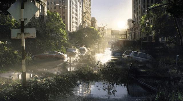 ciudad sin humanos autos en calles inundadas