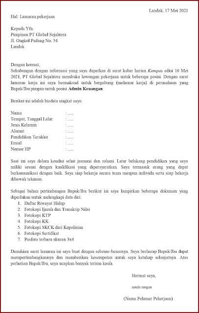 Contoh Application Letter Untuk Staff Akuntansi/Admin Keuangan (Fresh Graduate) Berdasarkan Informasi Dari Media Cetak