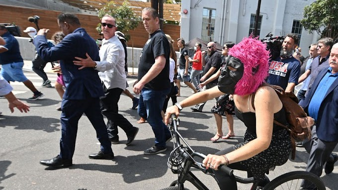 Larry Elder Gets Attacked By Democrat Gorilla-Masked Protester