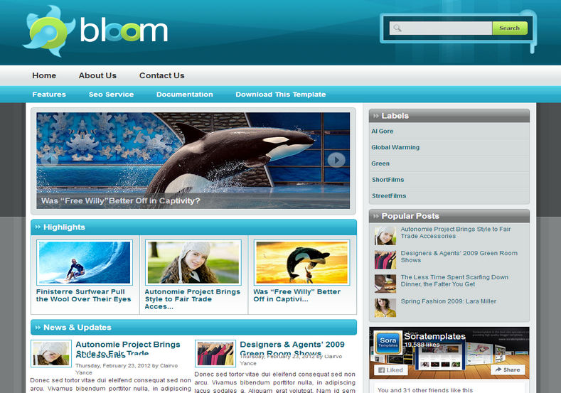 Bloom Blogger Template