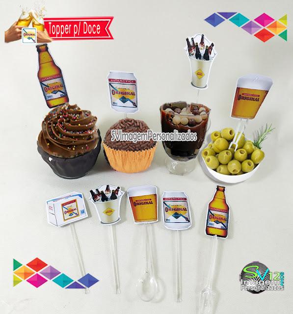 Festa Boteco Cerveja Antarctica Original dica decoração , os preços mais baratos para personalizados topper para doce