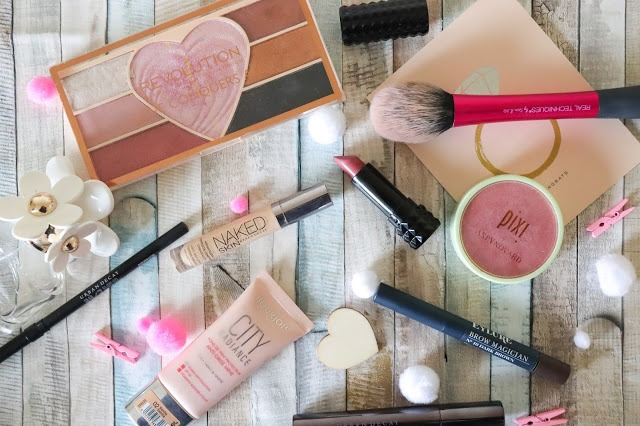 Flatlay of products that Laura used for her valentines inspired makeup look