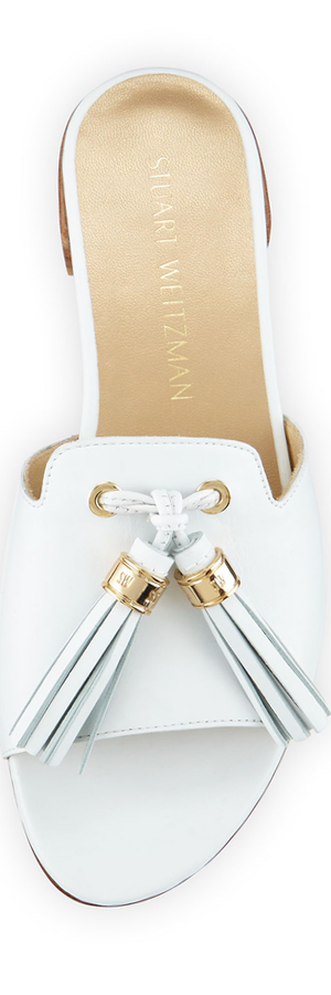 Stuart Weitzman Two Tassels Leather Flat Slide Sandal, White