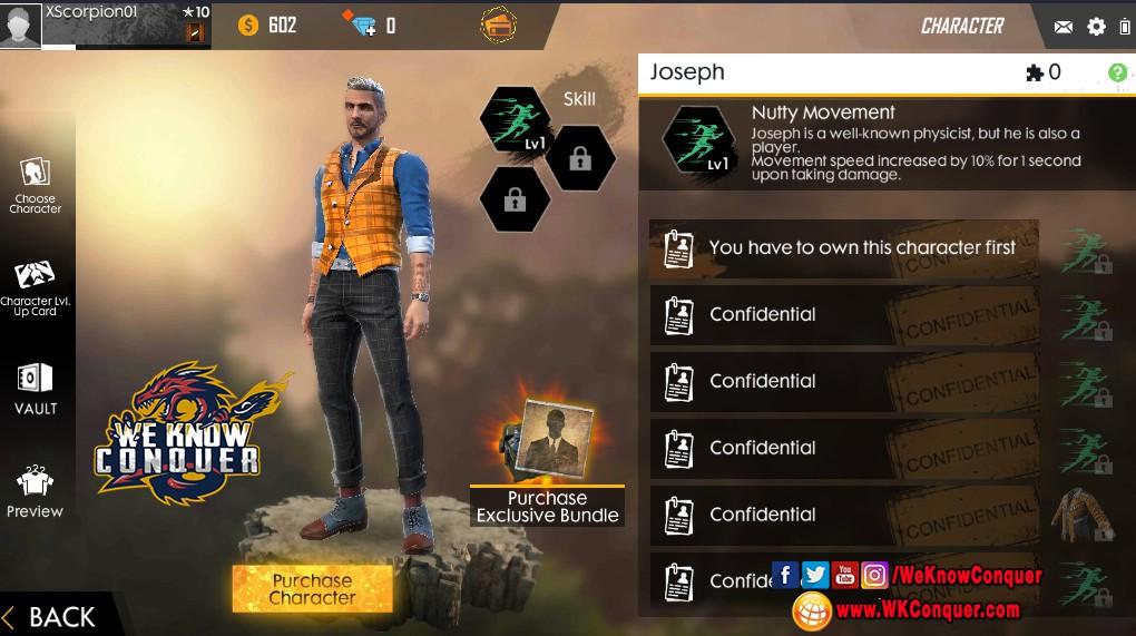 قبل الجميع احصل على شخصية Joseph فى لعبة فرى فاير Free Fire