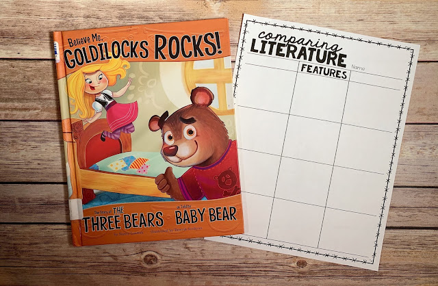 "Mentor Text with text ""Believe Me, Goldilocks Rocks!"" and Graphic Organizer with text ""Comparing Literature"""