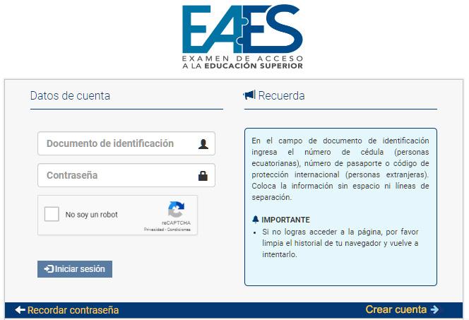 Inscripciones EAES examen de acceso a la educación superior