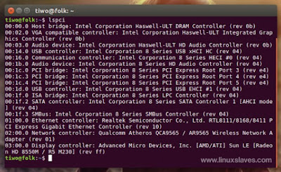 lspci collect hardware info on terminal Linux