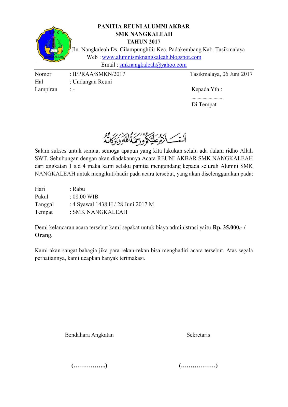 Surat Undangan Reuini Smk Nangkaleah Alumni Smk Nangkaleah