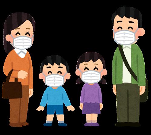マスクを付けた家族のイラスト(笑顔)