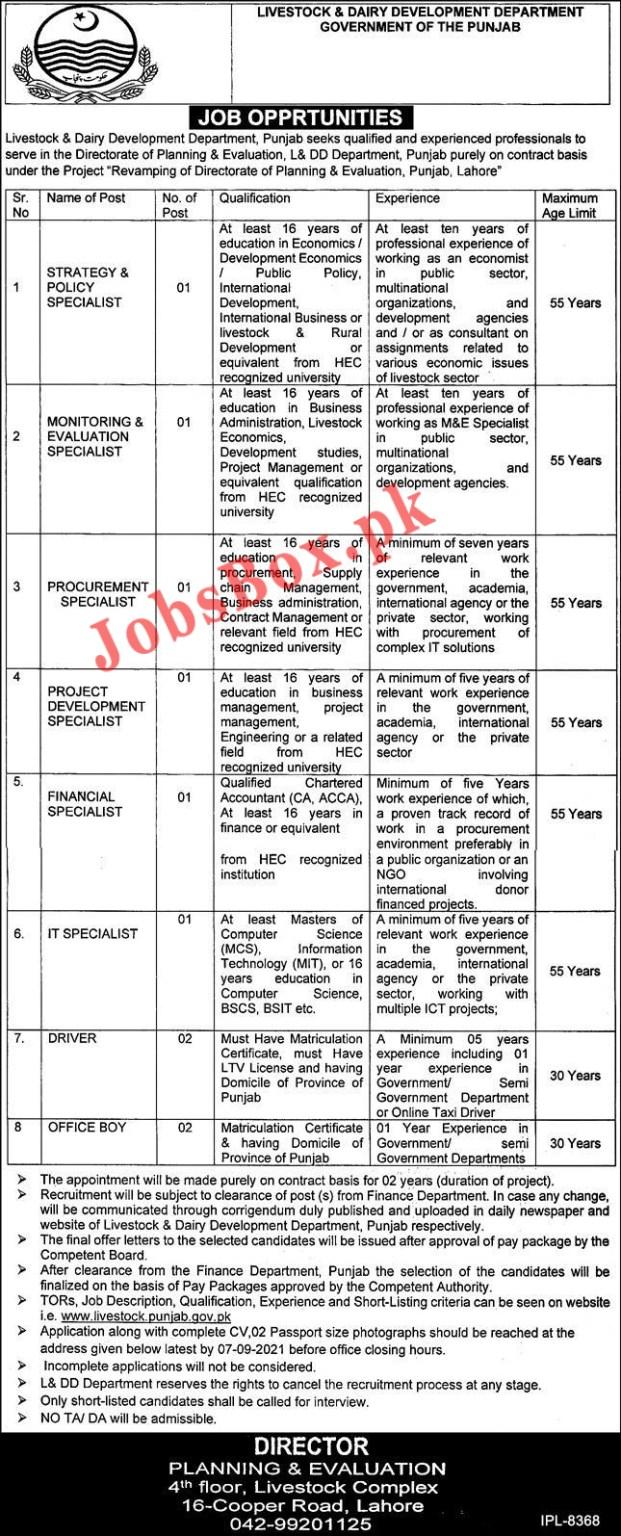 www.livestock.punjab.gov.pk Jobs 2021 - Livestock and Dairy Development Department Punjab Jobs 2021 in Pakistan