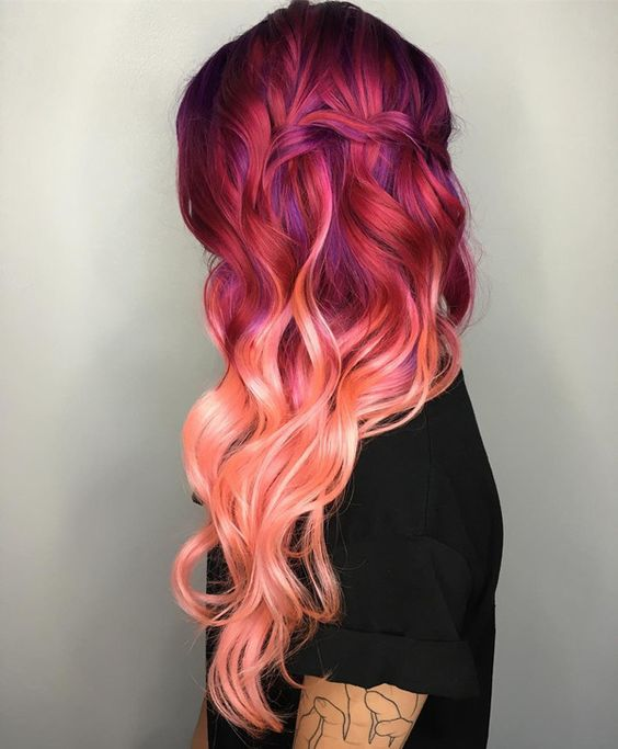 Ten Thrilling Ideas For Red Ombre Hair Wfbm