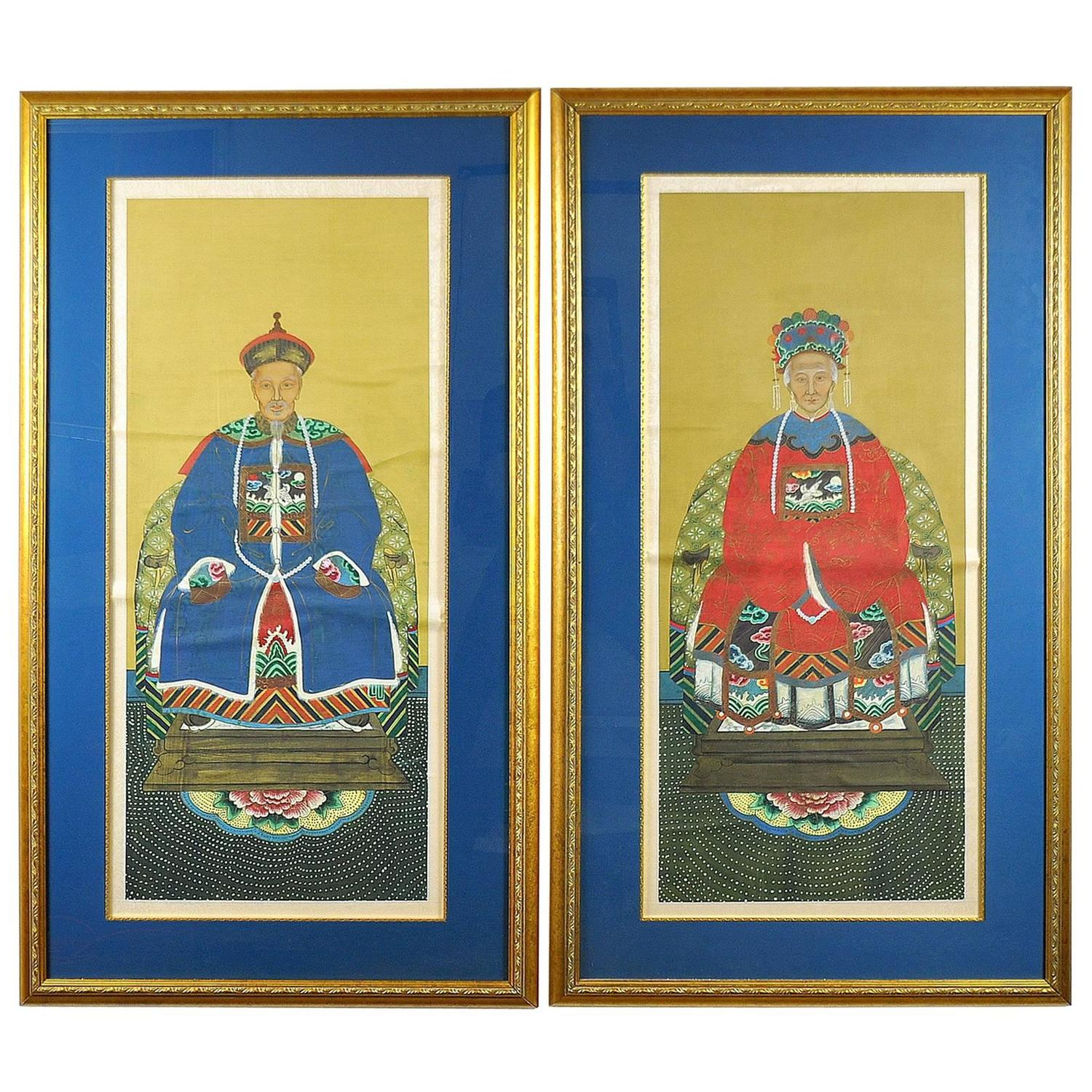 SELECT MODERN: Pair Of China Trade Ancestor Portraits