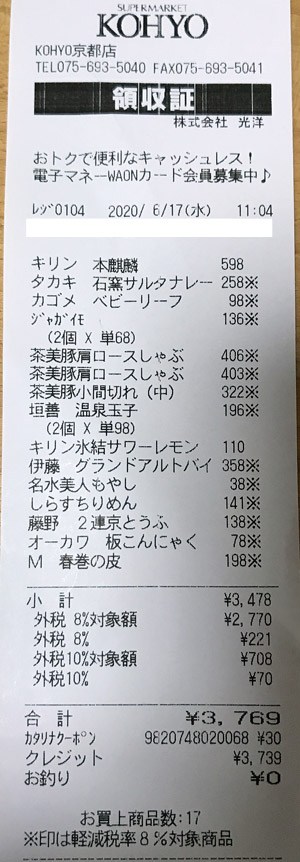 KOHYO 京都店 2020/6/17 のレシート
