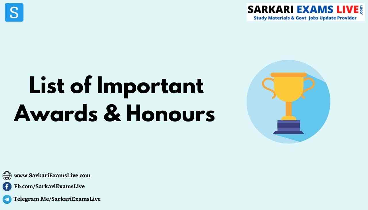 List of Important Awards and Honours 2020 PDF Download