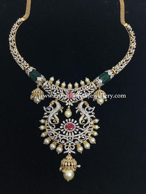 Diamond Hasli Necklace Jhumka Drops