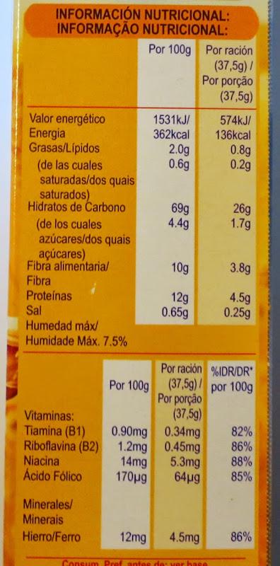 Informação nutricional - 1 porção = 2 biscoitos - (clique para aumentar)