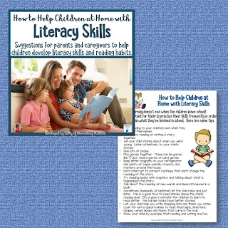 Here's a set of ideas to share with parents for helping their children at home with reading aloud and literacy skills. It's perfect for the beginning of the year or the end of the year!