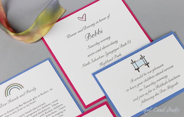Heart motif, rainbow motif, torah scroll motif, letterpress printing