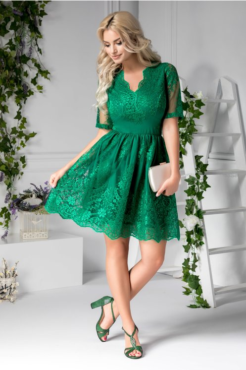 Rochie scurta eleganta de seara verde din dantela clos