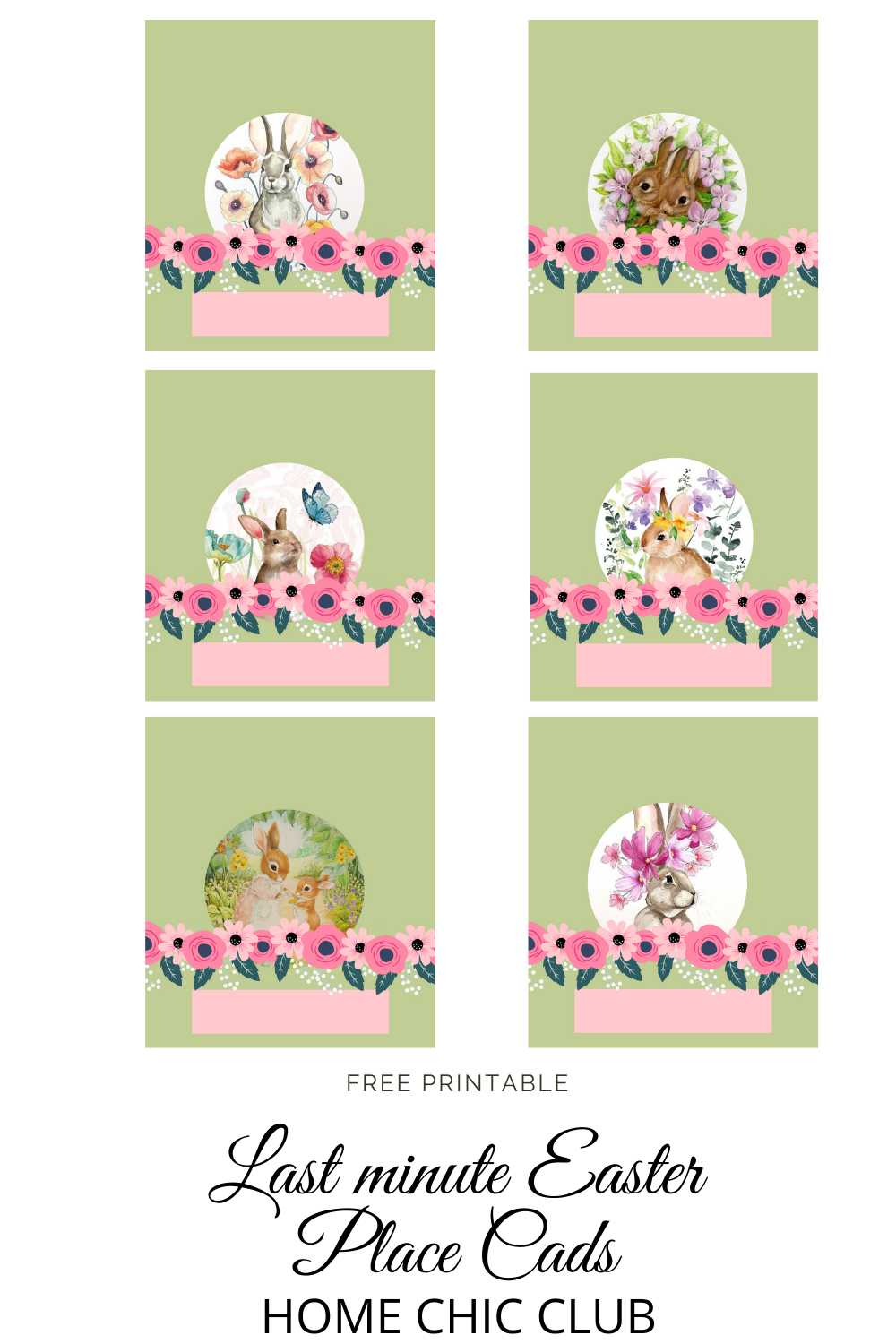 Home Chic Club Folded Easter Place Card Printable