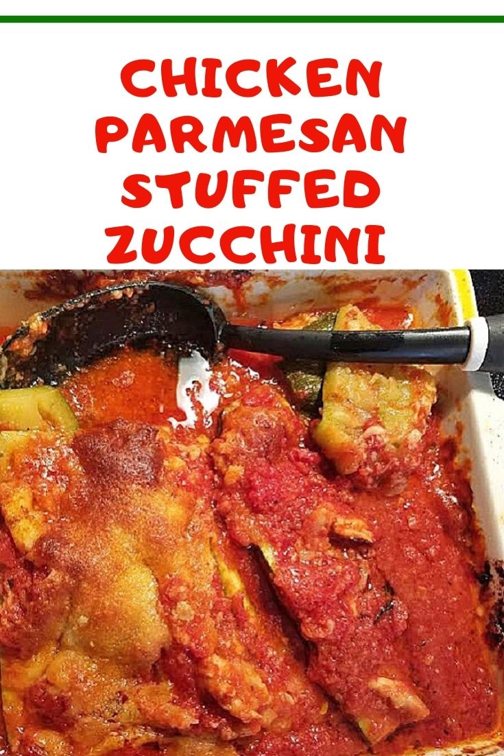 this is zucchini stuffed with chicken parmesan and baked
