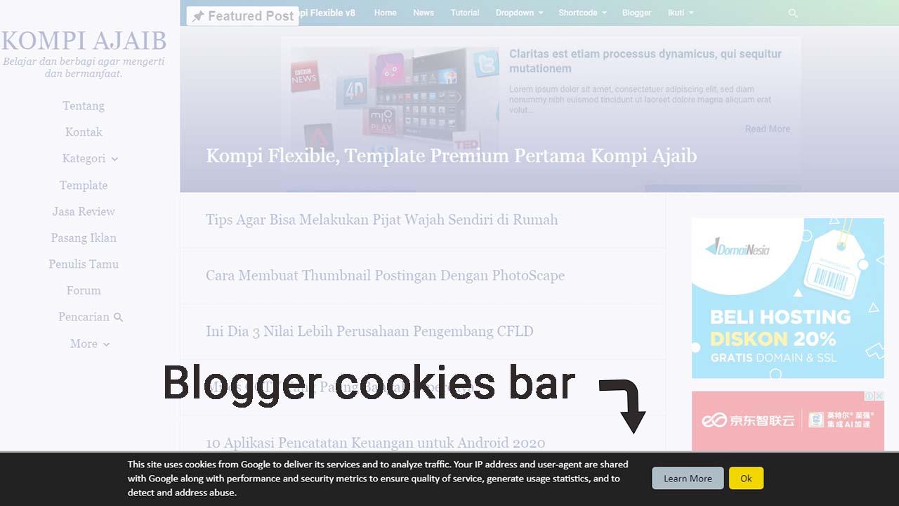 Blogspot Tidak Perlu Menggunakan Custom Cookies Bar